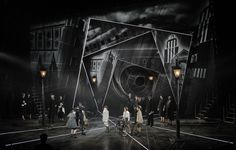 Emil and the Detectives. Set design by Bunny Christie. Notes: Set in 1920s Germany. Use of projection in the background to set the scene of industrial and ever-changing Berlin.