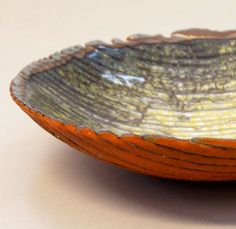 Claire Hall fused glass powder bowl - close up