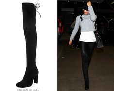 Naya Rivera leaves LAX, Los Angeles, November 30, 2014 Stuart Weitzman 'Highland' Boots - $795.00 Worn with: Hermès bag Also worn in: New York City, January 15, 2015 with Hermès bag Get Naya's look...