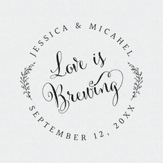 Coffee Sleeve Stamp Love is Brewing Stamp Wedding by FallForDesign