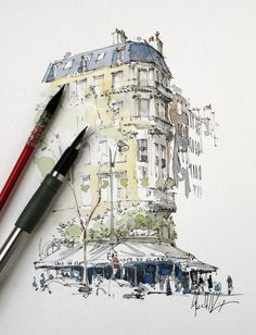 Pin by v. cantor on sketchbooks watercolor art, art sketchbook, art sketche Watercolor Architecture, Architecture Sketchbook, Art Sketchbook, Architecture Art, Classical Architecture, Sketch Painting, Watercolor Drawing, Watercolor Illustration, Sketch Drawing