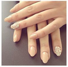 "Nude short almond shaped nails w/ diamonds...""cause people are crazy on Pinterest and act like they went to school and are pros at being nail techs when they didn't do one hour of schooling for this shit."""