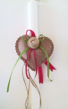 Greek Easter candle (lambada) - burlap heart