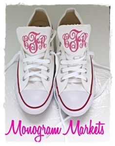 Monogrammed Converse...love the HOT PINK