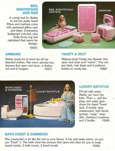 Barbie Dream Furniture Collection Bedroom and Bathroom Sets by Mattel, 1978 - Mattel finally gave Barbie her first bathroom with the introduction of the Dream Furniture Collection in 1978. Apparently Barbie didn't use the facilities from 1959-1977... LOL!