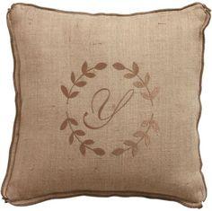 wreath monogram pillow from Ethan Allen