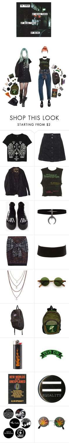"""""""tired of being"""" by coffee-and-jazz ❤ liked on Polyvore featuring Monki, Topshop, Barbour, 3.1 Phillip Lim, Charlotte Russe, DesignSix, JanSport, CASSETTE, Hot Topic and INDIE HAIR"""