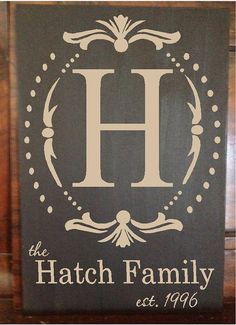 Hand painted wood sign with last name monogram by jkvinyldesigns, $17.00