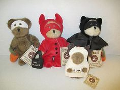 4-BOYDS-BEARS-HALLOWEEN-PLUSH-Devil-Bear-Bat-Bear-Masked-Bear-Moose-Bear