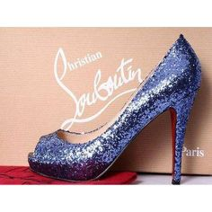 Blue designer wedding shoes ❤