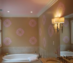 Wall Stencils Painting Homebase With Simple Green And Purple ...