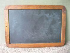"""Antique Slate Board Large 12-3/4"""" x 9"""" Chalk, Vintage Primitive, Wood Frame"""