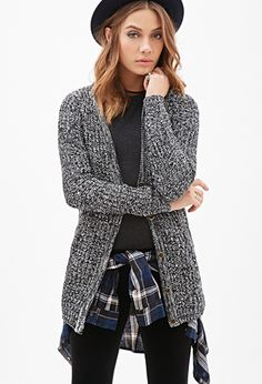 Ribbed Knit Marled Cardigan | FOREVER 21 - 2000117091