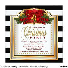 Modern Black Stripe Christmas Party 5.25x5.25 Square Paper Invitation Card