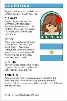 MakingFriends Facts about Argentina Printable Thinking Day fact card for our passports. Perfect if you chose Argentina for your Girl Scout Thinking Day or International Night celebration. Argentina Facts, Argentina Culture, Teaching Geography, World Geography, Learn Spanish Online, How To Speak Spanish, South America Climate, Facts For Kids, Fun Facts