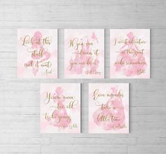Disney princess nursery, Set of 5, Princess party, Disney Quotes, Princess theme, Baby shower, Gift for daughter, little girls room, TINK by EllowDee on Etsy https://www.etsy.com/listing/533290918/disney-princess-nursery-set-of-5