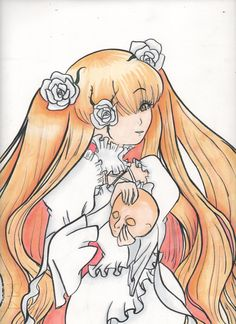 kirakishou rozen maiden anime manga lolita art draw work white rose girl doll copic markers