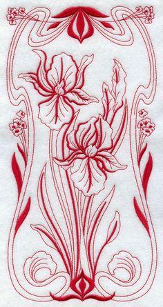 Art Nouveau Iris (Redwork) A beautiful Art Nouveau flower panel in redwork.