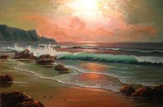 Watercolor Pictures, Watercolor Landscape Paintings, Abstract Landscape, Seascape Paintings, Animal Paintings, Ocean Art, Beach Scenes, Beach Art, Aesthetic Art