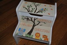 Kids Personalized 2 Step Stool Woodland Tree Top by onmyown14