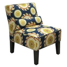 """Whether you want to update your living room or refresh your master suite décor, give your home a stylish uplift with this beautiful design. Product:  ChairConstruction Material: Solid pine, polyurethane and polyester foamColor: NavyFeatures: Slipper-inspired silhouetteIncludes lumbar pillowHandmade in the USADimensions: 32""""  H x 25""""  W x 32""""  DCleaning and Care: Spot clean only      Shipping: This item ships small parcelExpected Arrival Date: Between 04/27/2013 and 05/05/2013Return Policy…"""