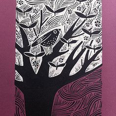 Butterfly Leaves Lino Cut With Chin Colle
