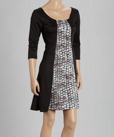 Look what I found on #zulily! Black & Gray Python Three-Quarter Sleeve Dress #zulilyfinds