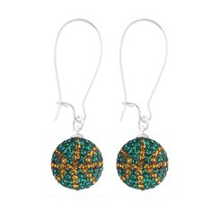 Handcrafted Emerald-Pumpkin (Green-Gold) Football Earrings with Silver Wire, Item E-BB17, Price:  $35.99, © GameDay Fusion