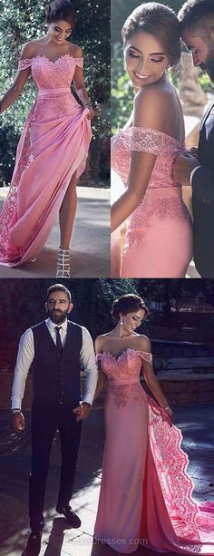 Mermaid Prom Dresses 2018, Pink Prom Dresses Off-the-shoulder, Long Prom Dresses Lace, Sweep Train Tulle Silk-like Satin Formal Dresses with Sashes / Ribbons