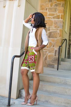 Ankara Shorts to Rock this September by our African Beauty Queens - WearitAfrica African Print Pants, African Print Fashion, Ankara Fashion, African Prints, Ankara Styles For Men, Kente Styles, African Wear, African Dress, African Outfits
