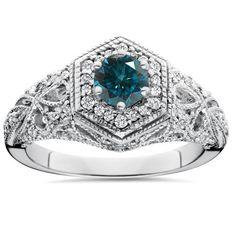 .81CT Blue Diamond Halo Vintage Engagement Ring 14K White Gold, Women's, Size: 8.5