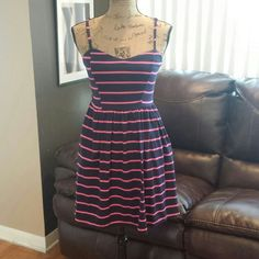☆HP☆Xhilaration pink/ dark blue dress This dress has a thirty feel. Has pockets. Has some stretch to it. Xhilaration Dresses
