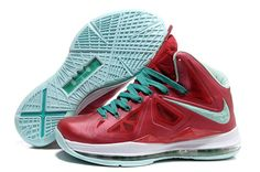 Latest Listing Cheap Nike Lebron X Varsity Red Fresh Green-White Basketball  Shoes Shop 1c671c911017