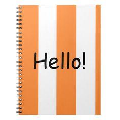 "Orange/white striped cool ""hello"" gifts note book"