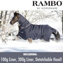 279 gap Rambo Duo Turnout Rug with 300g & 100g Liners and Detachable Hood (Navy)