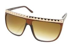 Square Lense Sleek Sunglasses with Row of Studs on Top Bridge (Brown/Gold
