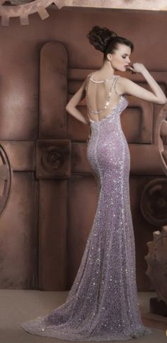purple backless dress