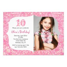 Glitter Fourth Birthday Invitation