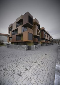 Gallery of Tetris Apartments / OFIS arhitekti - 6 Commercial Architecture, Facade Architecture, Amazing Architecture, Modern Townhouse, Container Buildings, Contemporary Building, Luxury Homes Dream Houses, Social Housing, Unique Buildings