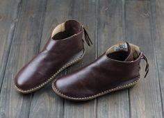 Femmes à la main en cuir chaussures, souliers Oxford, chaussures plates, très confortables