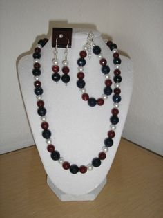 Red/blue faceted quartz white glass pearls by CreationsbyMaryEllen, $19.75