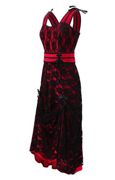 The Violet Vixen - Amy's Strapped and Lacey Red Dress, $117.00 (http://thevioletvixen.com/clothing/amys-strapped-and-lacey-red-dress/) Black floral lace, summer straps dress, long, red satin.