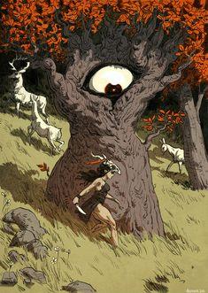 Eye-Hand-Tree by Solène Azernour Poster Design, Art Design, Art And Illustration, Bd Art, Ouvrages D'art, Fantasy Inspiration, Pretty Art, Aesthetic Art, Art Inspo