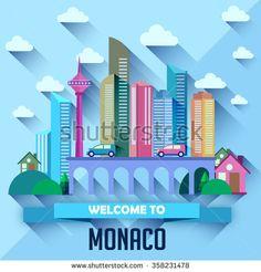 Monaco - Flat design city vector illustration - stock vector