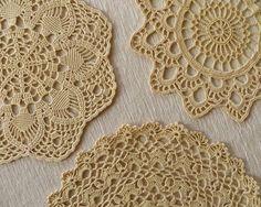 Set of 3 Vintage Crochet Doily Cream Doilies Round Doily Ecru Vintage Doilies Hand Crochet Doily Cotton Doilies Lace Doilies Vintage Linens