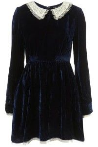 Velvet Peterpan Collar Dress from Topshop
