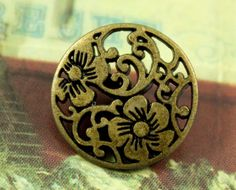 Flower Vine Metal Buttons , Antiqued Brass Color , Openwork , Shank , 0.59 inch , 10 pcs by Lyanwood, $5.00