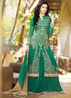 #Surat Wholesale Green Georgette Lehenga Choli - Buy Now @ http://www.suratwholesaleshop.com/308-Divine-Black-Colour-Georgette-Zari-Work-Lehenga-Choli?view=catalog