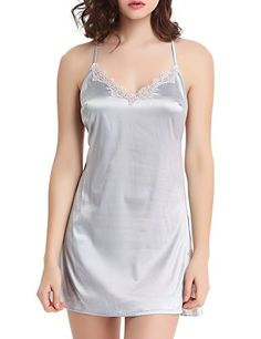 Liqqy Womens Satin Nightgowns Lace Trim Sleepskirt Sexy Chemise Slip Sleepwear Small Glacier Gray >>> Be sure to check out this awesome product. Note:It is Affiliate Link to Amazon.