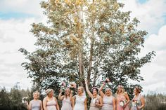 Happy energetic bridesmaids make for a fun wedding!! This wedding took place with the Beautiful Mt. Rainier as a backdrop for the ceremony! It was unreal!!  rustic chic / barn / Eatonville, Wa